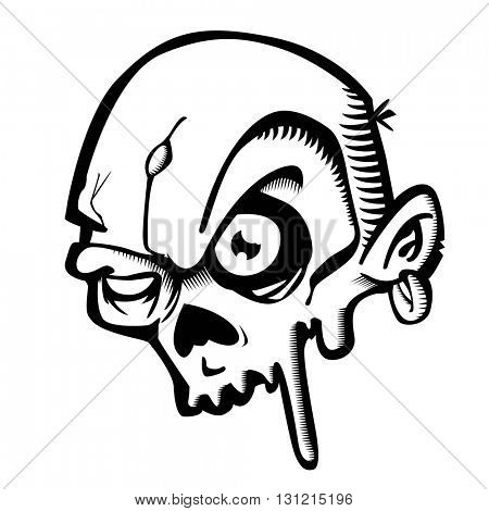 black and white zombie cartoon