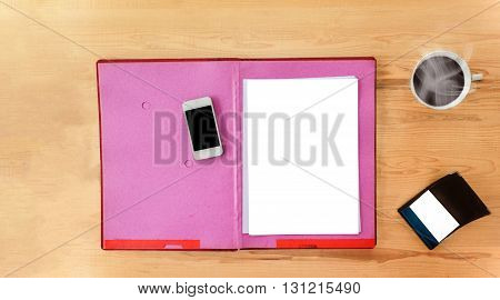 Blank Paper Note With Pen On Document File On Work Table