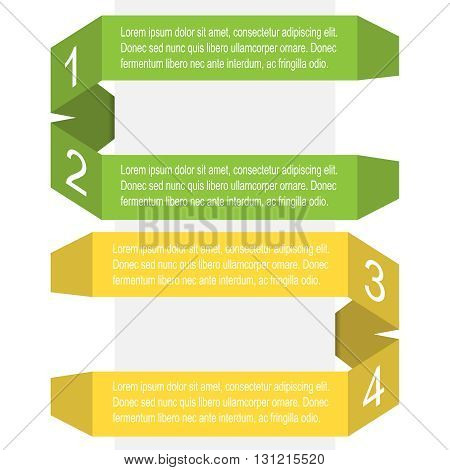 Set of colored banners and ribbons with shadow, vector illustration