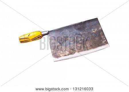 rusty kitchen knife on white