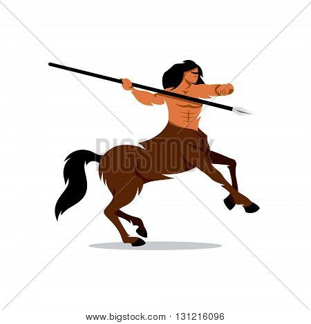 Man horse ready to throw javelin isolated on white background