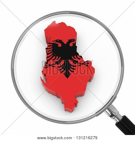 Albania Under Magnifying Glass - Albanian Flag Map Outline - 3D Illustration