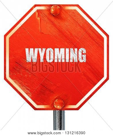 wyoming, 3D rendering, a red stop sign