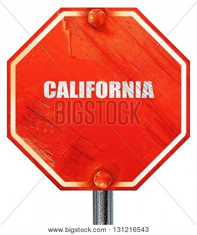 california, 3D rendering, a red stop sign