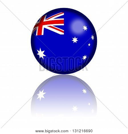 Australia Flag Sphere 3D Rendering