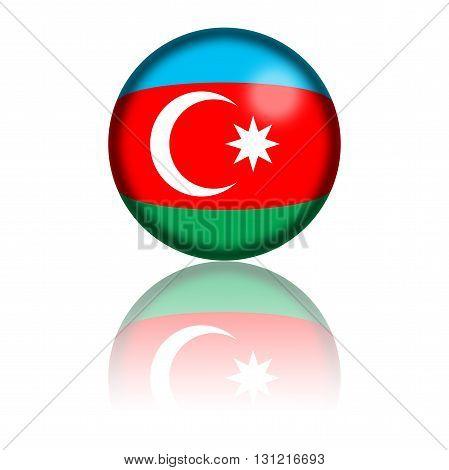 Azerbaijan Flag Sphere 3D Rendering