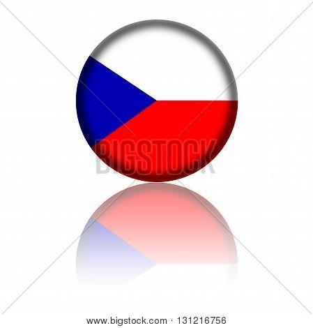 Czech Republic Flag Sphere 3D Rendering