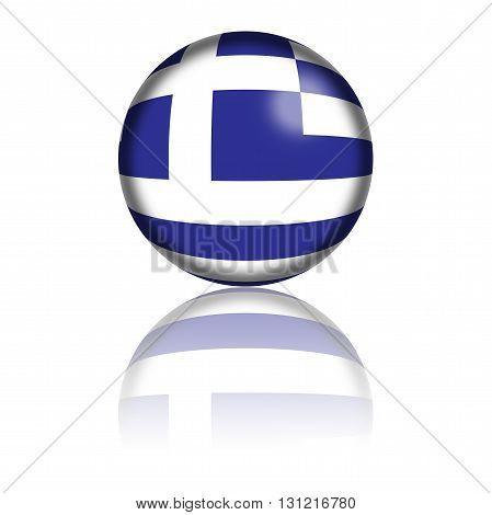 Greece Flag Sphere 3D Rendering