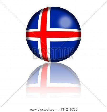 Iceland Flag Sphere 3D Rendering