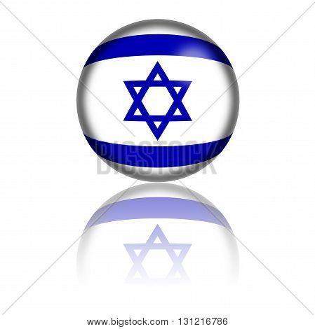 Israel Flag Sphere 3D Rendering
