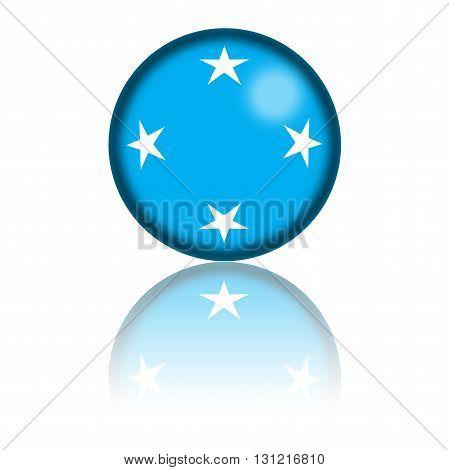 Micronesia Flag Sphere 3D Rendering