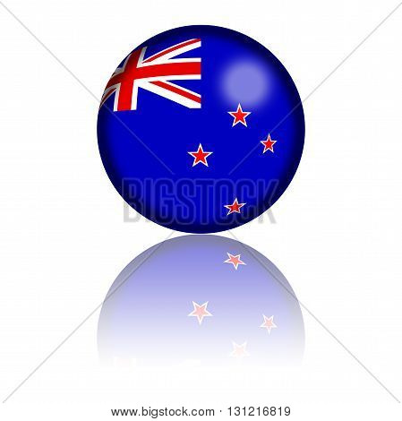 New Zealand Flag Sphere 3D Rendering