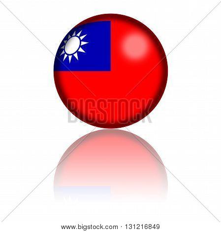 Taiwan Flag Sphere 3D Rendering