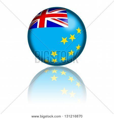 Tuvalu Flag Sphere 3D Rendering