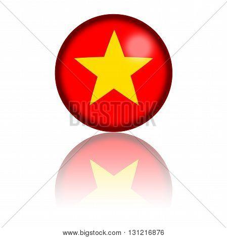 Vietnam Flag Sphere 3D Rendering