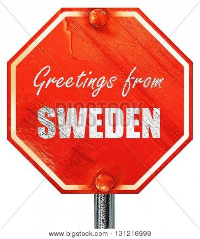 Greetings from sweden, 3D rendering, a red stop sign