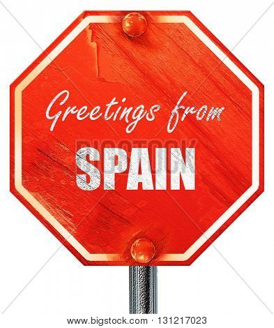 Greetings from spain, 3D rendering, a red stop sign
