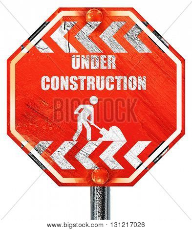 Under construction sign, 3D rendering, a red stop sign
