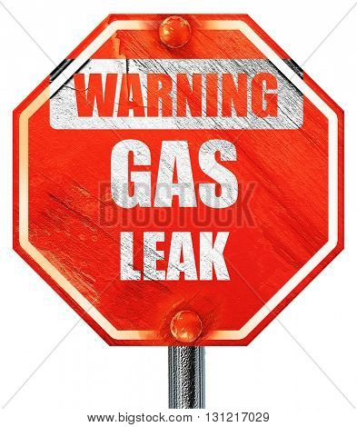 Gas leak background, 3D rendering, a red stop sign