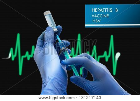 Stop Hepatitis B (HBV). Vaccine to treat disease. Syringe and vaccine with drugs.