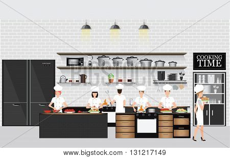 Chefs cooking at the table in restaurant kitchen interior with kitchen shelves and cooking utensils equipment on counter with bricks patterned background vector illustration.