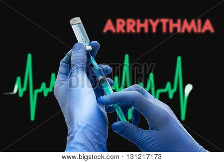 Treatment of arrhythmia. Syringe is filled with injection. Syringe and vaccine. Medical concept.