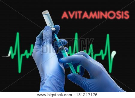 Treatment of avitaminosis. Syringe is filled with injection. Syringe and vaccine. Medical concept.