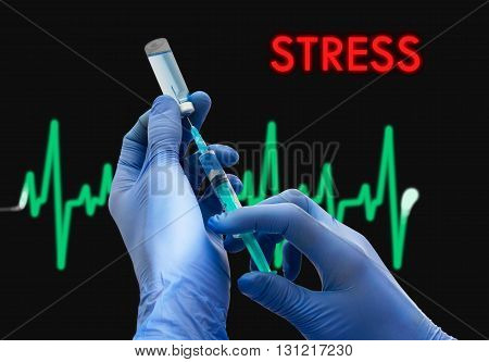 Treatment of stress. Syringe is filled with injection. Syringe and vaccine. Medical concept.