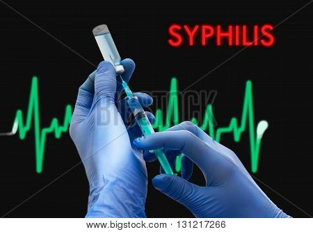Treatment of syphilis. Syringe is filled with injection. Syringe and vaccine. Medical concept.