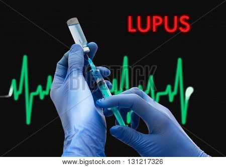 Treatment of lupus. Syringe is filled with injection. Syringe and vaccine. Medical concept.