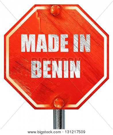 Made in benin, 3D rendering, a red stop sign