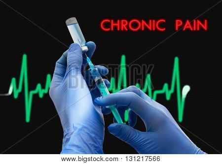 Treatment of chronic pain. Syringe is filled with injection. Syringe and vaccine. Medical concept.