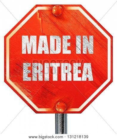 Made in eritrea, 3D rendering, a red stop sign