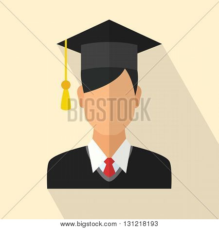 Young graduates student in graduation cap and ceremony robe