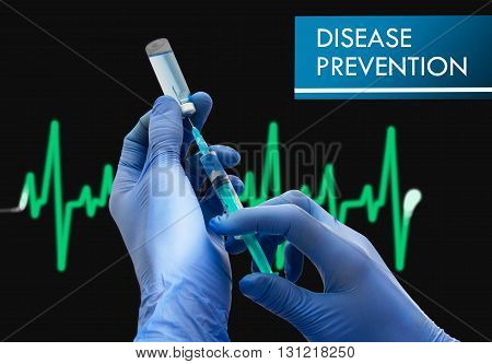 Disease prevention. Syringe is filled with injection. Syringe and vaccine. Medical concept.