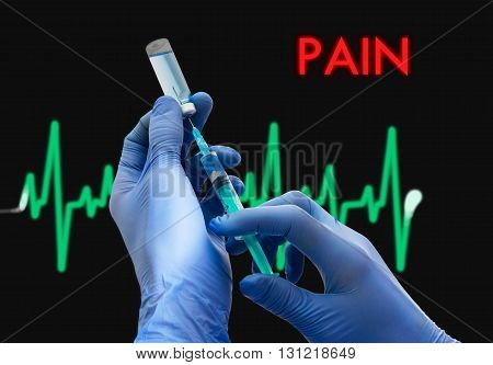 Treatment of pain. Syringe is filled with injection. Syringe and vaccine. Medical concept.