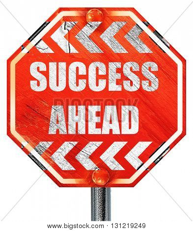 Success sign with smooth lines, 3D rendering, a red stop sign