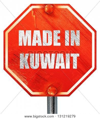 Made in kuwait, 3D rendering, a red stop sign
