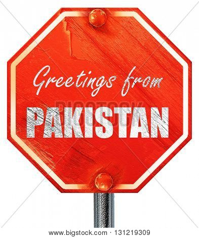 Greetings from pakistan, 3D rendering, a red stop sign