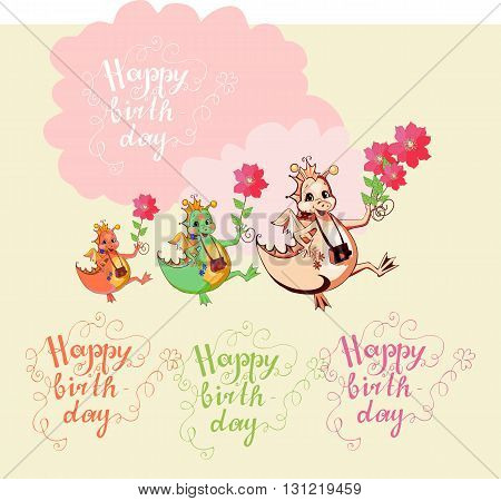 Colorful greeting Happy birthday card. Cute dragons with flowers. Vector illustration.
