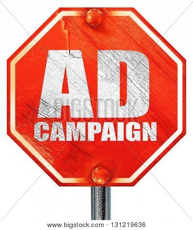 Ad campaing, 3D rendering, a red stop sign