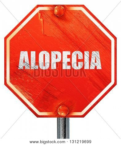 alopecia, 3D rendering, a red stop sign