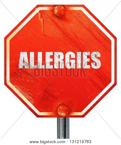 allergies, 3D rendering, a red stop sign