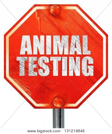 animal testing, 3D rendering, a red stop sign