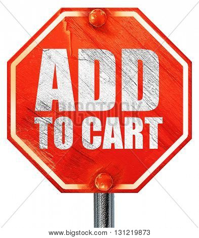 add to cart, 3D rendering, a red stop sign