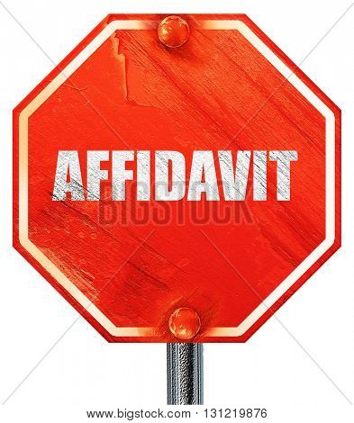 affidavit, 3D rendering, a red stop sign