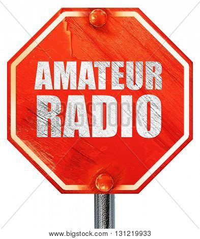 amateur radio, 3D rendering, a red stop sign
