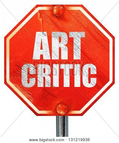 art critic, 3D rendering, a red stop sign