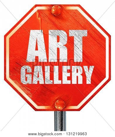 art gallery, 3D rendering, a red stop sign