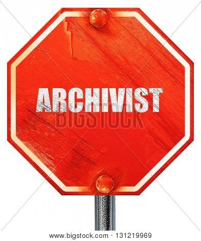 archivist, 3D rendering, a red stop sign